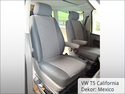 VW T5 California Sitzbezüge Vordergarnitur von vorne