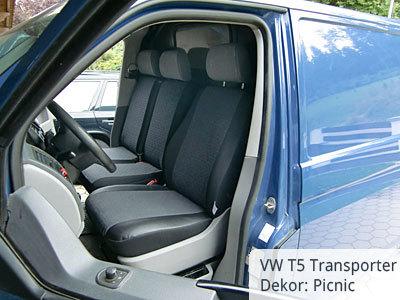 VW T5 Transporter Sitzbezüge mit Kunstlederverstärkung