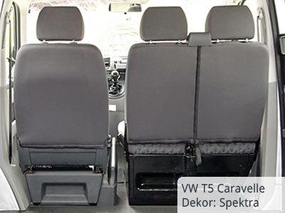 VW T5 Transporter Sitzbezüge von hinten